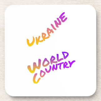 Ukraine world country, colorful text art beverage coaster