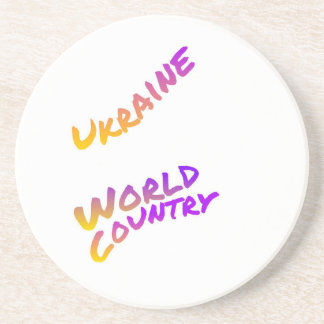 Ukraine world country, colorful text art drink coasters