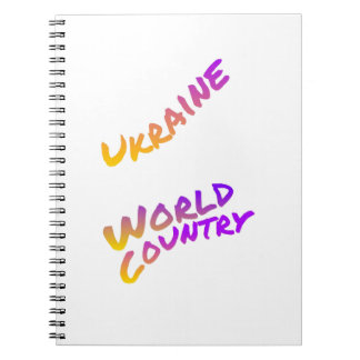Ukraine world country, colorful text art notebook