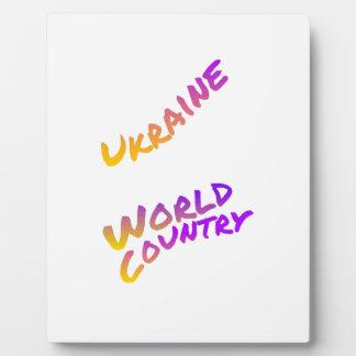 Ukraine world country, colorful text art plaque