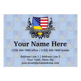 Ukrainian-American Shield Flag Business Card Templates