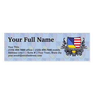 Ukrainian-American Shield Flag Pack Of Skinny Business Cards