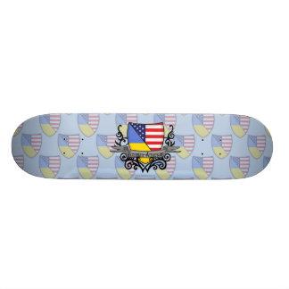 Ukrainian-American Shield Flag Skate Deck