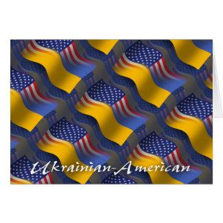Ukrainian-American Waving Flag Greeting Card