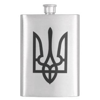 Ukrainian Black Tryzub Flag Hip Flask