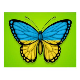 Ukrainian Butterfly Flag on Green Postcard