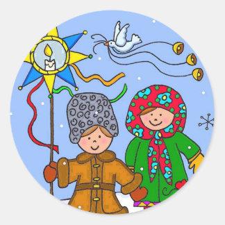Ukrainian Christmas Carollers Classic Round Sticker