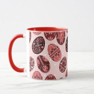 Ukrainian easter eggs red pattern mug