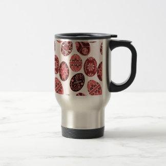 Ukrainian easter eggs red pattern travel mug