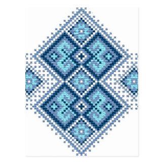 Ukrainian embroidery blue vyshyvanka postcard