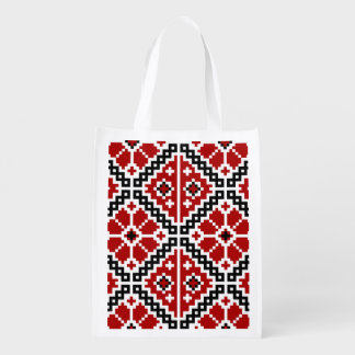 Ukrainian embroidery reusable grocery bag