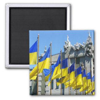 Ukrainian Flags Square Magnet