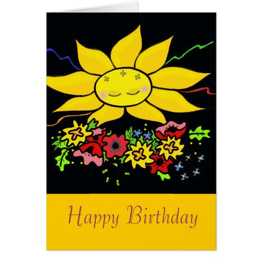 Ukrainian Folk Art Sun Happy Birthday Card