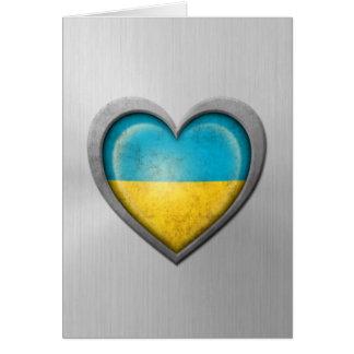 Ukrainian Heart Flag Stainless Steel Effect Card