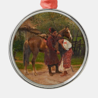 Ukrainian Kozak with Weeping Girl Metal Ornament