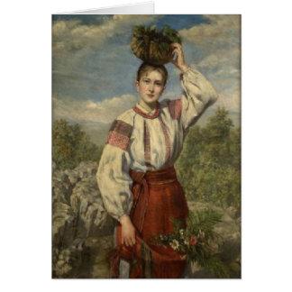 Ukrainian Podovlian Woman Easter Card