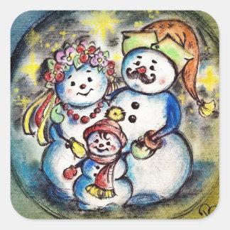 Ukrainian Snowmen Family Square Sticker