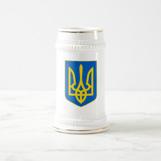 Ukrainian Trident Shield White+Gold Beer Stein