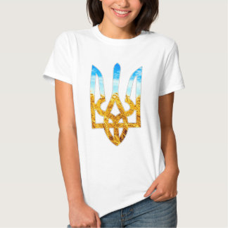 Ukrainian tryzub background of wheat and blue sky shirt