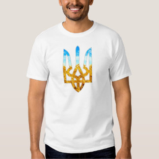 Ukrainian tryzub background of wheat and blue sky tees