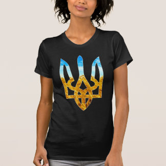 Ukrainian tryzub background of wheat and blue sky t shirts