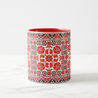 Ukrainian Vyshyvanka Embroidery Poppy Flowers Mug