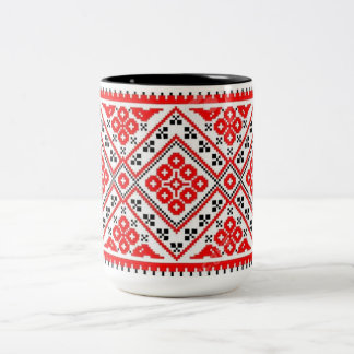 Ukrainian Vyshyvanka Embroidery Red Suns Mug