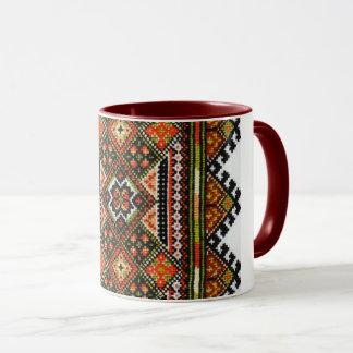 Ukrainian Vyshyvanka Geometric Embroidery Mug