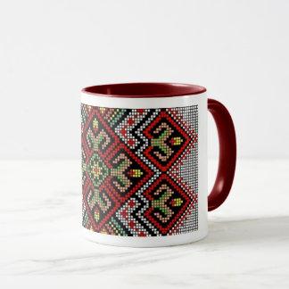 Ukrainian Vyshyvanka Red Geometric  Embroidery Mug