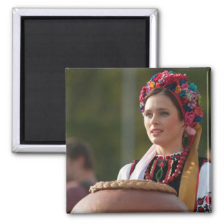 Ukrainian Woman Bread and Salt Square Magnet