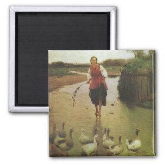 Ukrainian Woman with Ducks Square Magnet
