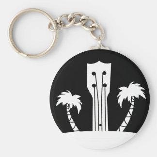 Ukulele and Palm Tree Key Ring