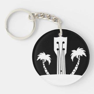 Ukulele and Palm Trees Key Ring