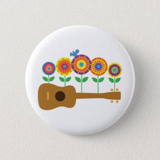 Ukulele Flowers 6 Cm Round Badge