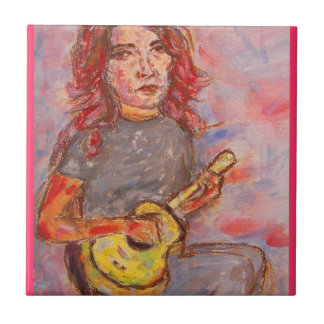 ukulele girl art tile