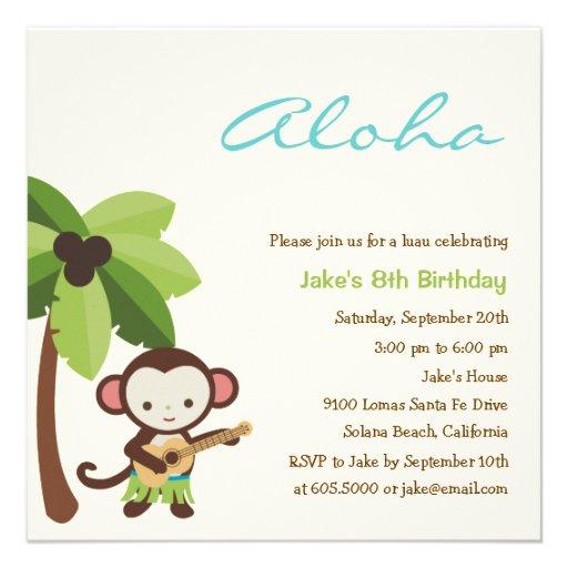 Ukulele Monkey Luau Party Invitation Personalized Invite