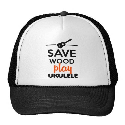 Ukulele Musical Instrument - Save Wood play ukulel Trucker Hats
