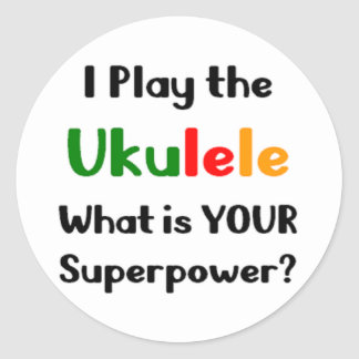 Ukulele player classic round sticker