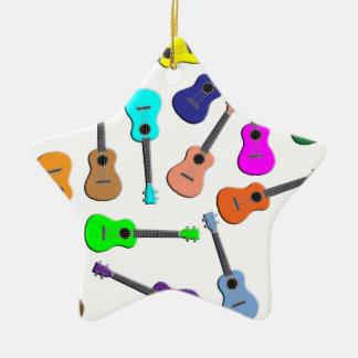 Ukulele Rainbow Ceramic Ornament