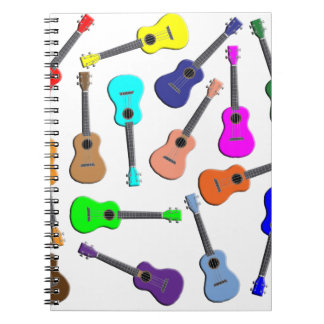 Ukulele Rainbow Spiral Notebook