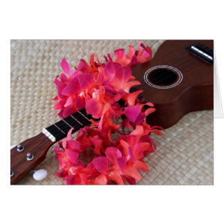 Ukulele & Red Flower Lei Card