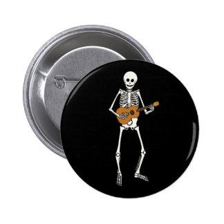 Ukulele Skeleton 6 Cm Round Badge