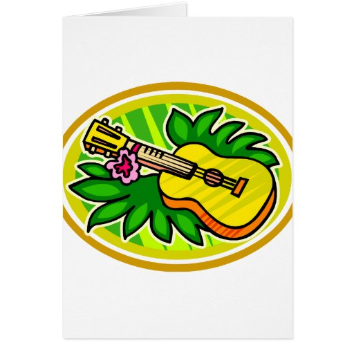 Ukulele With Leaves and Flower Circle , Yellow Card