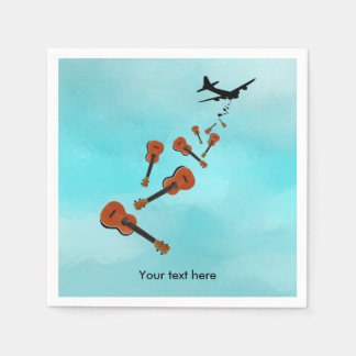 Ukuleles being dropped from a plane paper napkins