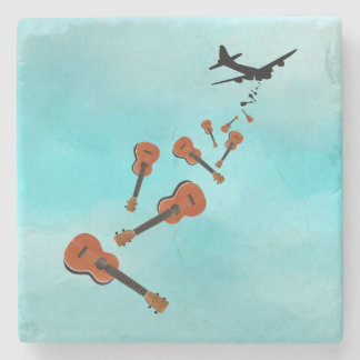 Ukuleles dropping from and airplane stone coaster