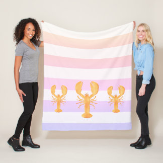 Ulra violet and pink stripes with golden lobsters fleece blanket