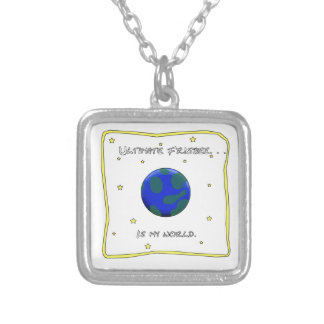Ultimate Frisbee Is My World Silver Plated Necklace