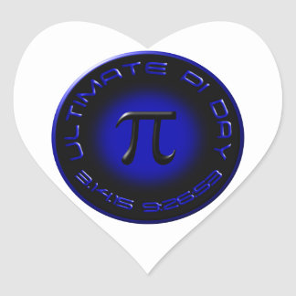 Ultimate Pi Day 2015 3.14.15 9:26:53 (blue) Heart Sticker