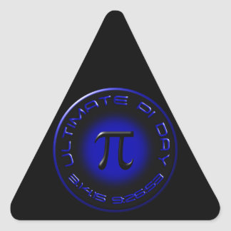 Ultimate Pi Day 2015 3.14.15 9:26:53 (blue) Triangle Sticker