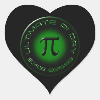 Ultimate Pi Day 2015 3.14.15 9:26:53 (green) Heart Sticker
